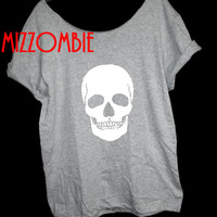 SKULL PUNK off shoulder ladies loose fitting t shirt grunge women t shirt