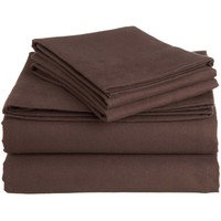 Queen 100-Percent Cotton Flannel Sheet Set in Brown Italian Roast
