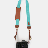 Canvas & Leather Camera Strap — Seaside