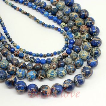 "Natural Stone Blue Sea Sediment Jasper 4/6/8/10/12mm Round Loose Beads 15.5"" Pick Size"