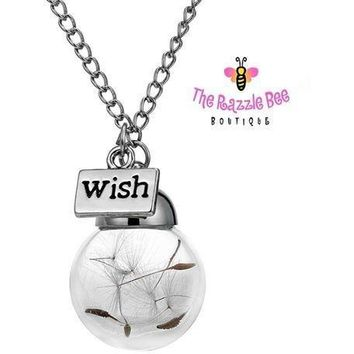 Make A Wish Dandelion Necklace - Real Dandelion Handblown Globe - Real Dandelion Seed