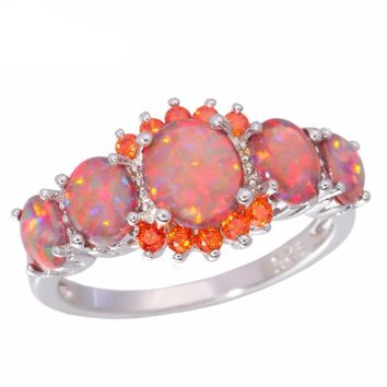 Orange Fire Opal Orange Garnet Silver Plated Ring