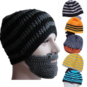 Warm Winter Women Men Fashion Punk Knit Crochet Beard Hat Beanie Mustache Face Mask Ski Snow Caps 88 -MX8