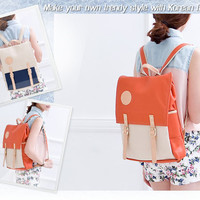 Women's Girls Faux Leather Square School Backpacks Casual Cute Bags Purses LD145