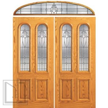 Prehung Mahogany Arch Twin Lite Front Entry Double Door Transom
