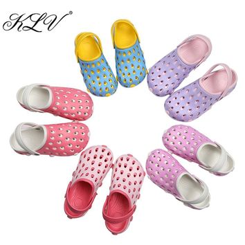 KLV EVA Women Clog Summer Croc Beach Shoes Hollow Out Sandals Hole Breathable Women Sh