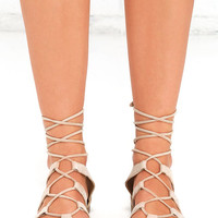 Steve Madden Sanndee Taupe Nubuck Leather Flat Sandals