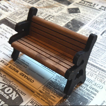 Miniature Wooden Bench / Doll House / Diorama Supplies / Rustic Doll Furniture / mixed media supply / assemblage / altered art / garden