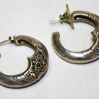 Vintage Earrings Sterling Marcasite Hoop retro Jewelry by patwatty