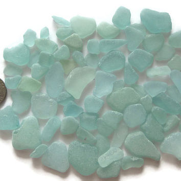 75 Pcs. Assorted Dark Aqua Turquoise Sea Glass Beach Find Surf Tumbled Frosted Arts Crafts Mosaics Jewelry Making Home Garden Small Medium