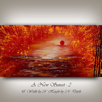 RED OIL PAINTING Landscape Painting home decor wall art on canvas large tree of life artwork contemporary art original gallery by Nandita