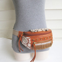 Tribal fanny pack/ Boho hip bag/ Upcycled utility belt/ Festival bag/ Gypsy bag.