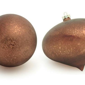 4 Christmas Ornaments - Copper Colored
