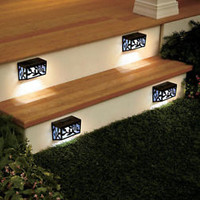 Set of 4 Solar Step Lights Stairs Decks Patio Porch Butterfly Home Yard Decor