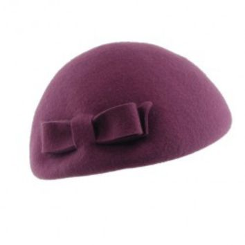 Claret-red Bowknot Wool Beret
