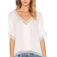Embroidered Trim Top in White