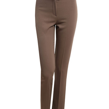 LE3NO Womens Straight Leg Dress Pants with Faux Leather belt