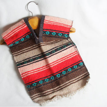 Childrens Mexican Poncho Bright Blanket Style Vest