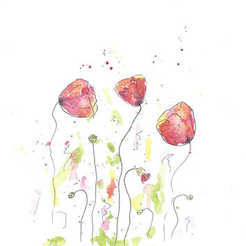 Original Watercolor Poppy Painting Red no 4