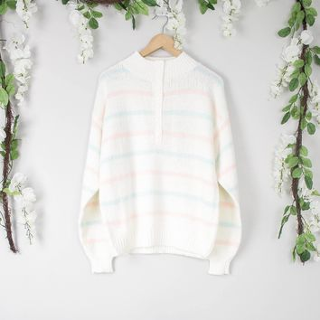 Vintage Pastel Striped Sweater