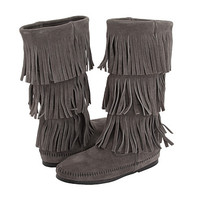Minnetonka Calf Hi 3-Layer Fringe Boot Grey Suede - Zappos.com Free Shipping BOTH Ways