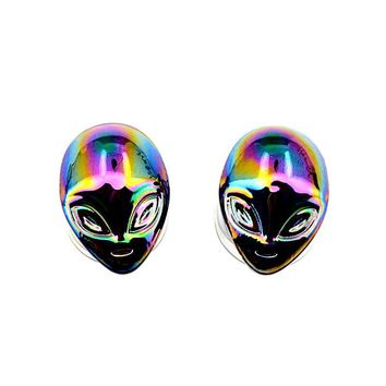 Iridescent Alien Shiny Purple Silver Pyrex Glass Ear Plugs Gauges 6-16mm 1Pair