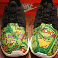 Nike Roshe Run Black Teenage Mutant Ninja Turtles V5 Edition Custom TMNT Men & Women