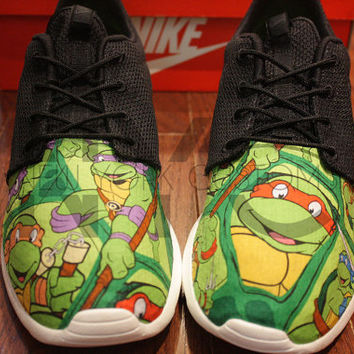 Nike Roshe Run Black Teenage Mutant Ninja Turtles V5 Edition Custom TMNT  Men   Women 2784da0d4