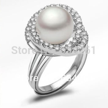 White Resizable Fashion Natural farming Freshwater pearl rings for women & 925 Sterling Silver ring ,weddings & events pearls jewelry