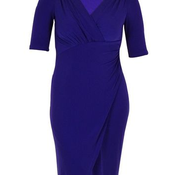 Connected Women's Elbow Sleeves Draped Faux Wrap Dress