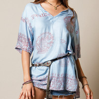 Short Sleeve Oversized Deity Mantra Tunic