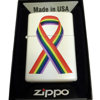 Zippo Custom Lighter - LGTBQ Gay Pride Ribbon - Regular White Matte 214CI401716