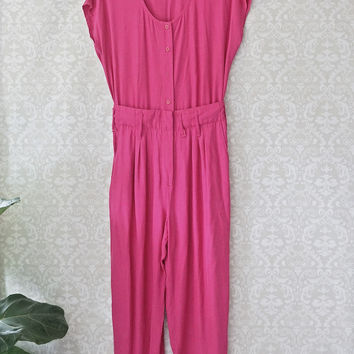 Vibrant 1980s Sassy Bright Pink Jumpsuit