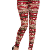 IN STOCK Super Soft Knit Red Winter Printed Leggings cozy Leggings for Winter Fun Stocking Stuffers Holiday Gifts for her