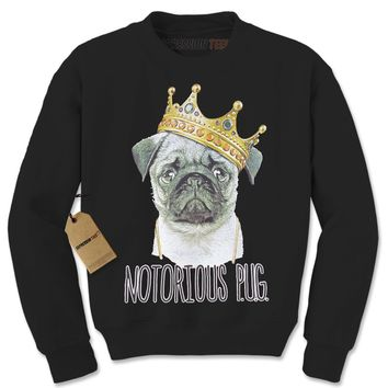 Notorious P.U.G. Biggie Pug Life Adult Crewneck Sweatshirt