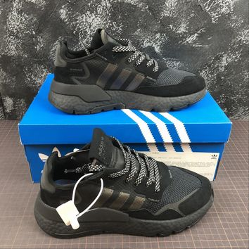hcxx A1172 Adidas Nite Jogger 2019 3M Reflection Boost Running Shoes Black