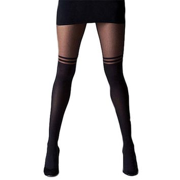 VONE7HQ Over The Knee Double Stripe Sheer Tights