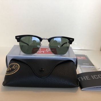 Ray-Ban RB3016 901 CLUBMASTER Silver BLACK Classic 51mm