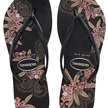 Havaianas Slim Organic in Black/Dark Grey- Size 6