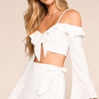 Just Dreamy White Bell Sleeve Crop Top
