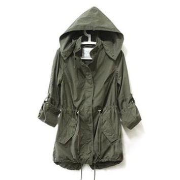 Vedem Women's Hooded Drawstring Military Jacket Parka Coat Army Green (S)