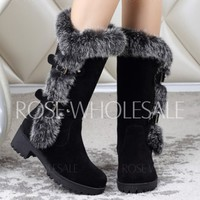 Stylish Women's Mid-Calf Boots With Faux Fur and Flock Design