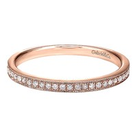 14k Pink Gold Diamond Stackable Ladies