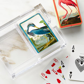 Caspari Audubon Playing Cards & Acrylic Holder Set | Neiman Marcus