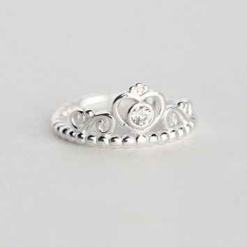 925 sterling silver Love the little crown opening ring, fashion personality crown ring, a perfect gift