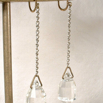 Antique Flapper Earrings, Original 1920 Crystal Rhinestone Drop Earrings, Bridal Statement Dangle Screw Back Art Deco Jewelry Gatsby Wedding