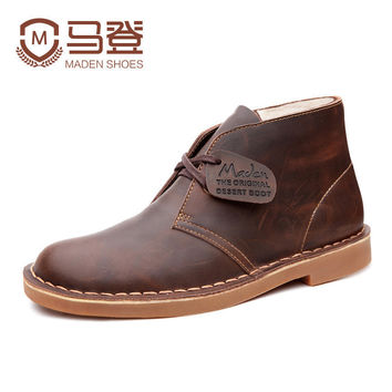 Fashion high-quality brand men male desert boots custom thick leather men's casual shoes popular tide travel street warm boots