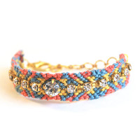 Friendship bracelet with rhinestones, multicolor bracelet, tribal bracelet, blue and coral