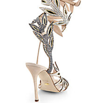 Sergio Rossi - Flora Crystal-Encrusted Wrap Sandals - Saks Fifth Avenue Mobile