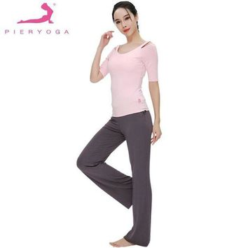 ESBONHC PIERYOGA 2Pcs Women Summer Spring Yoga Set For Running Gym Sportswear Fitness Suit Dance Clothes Sweet Strapless Top And Pants